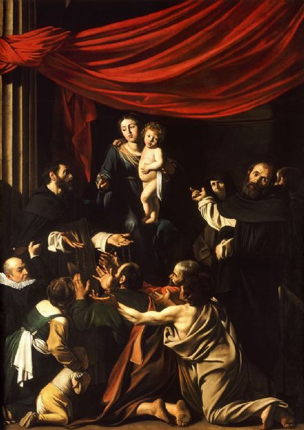 Caravaggio, Michelangelo Merisi da: Madonna of the Rosary. Fine Art Print/Poster. Sizes: A4/A3/A2/A1 (002076)
